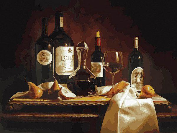Раскраски по номерам 30*40 см Вино и груши Белоснежка (317 ...